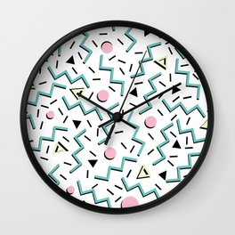 Back to the 80's eighties, funky memphis pattern design Wall Clock