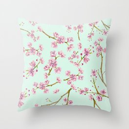 Spring Flowers - Mint and Pink Cherry Blossom Pattern Throw Pillow