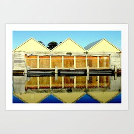 Reflections of an old boat Building Art Print