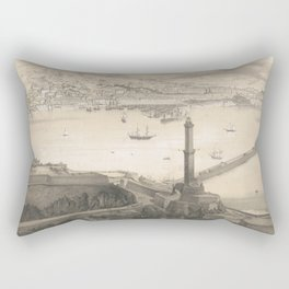 Vintage Pictorial Map of Genoa Italy (1850s) Rectangular Pillow