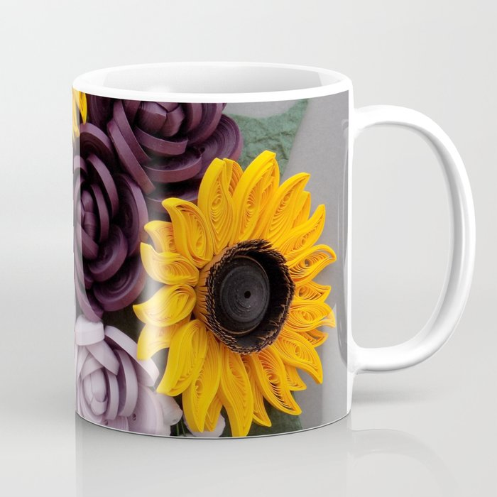 Sunflowers roses paper quilled flowers coffee mug by wondercraftshop sunflowers roses paper quilled flowers coffee mug mightylinksfo