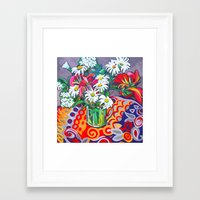 daisies Framed Art Prints featuring Daisies by marlene holdsworth