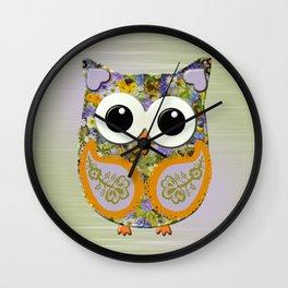 Cute Purple and Orange Floral Owl Wall Clock