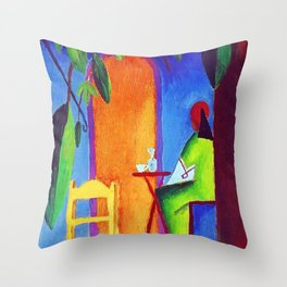 The Sad Cafe tropical still life portrait painting Throw Pillow