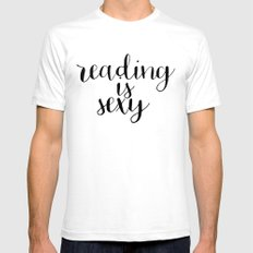 Reading is Sexy White Mens Fitted Tee SMALL