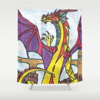 dragon Shower Curtains featuring Dragon by Vickn