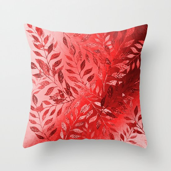 Throw Pillow Arrangement : Monochrome Leaf Arrangement (Red) Throw Pillow by Roxanne G Society6