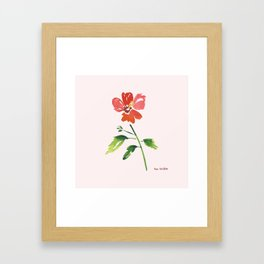 Hibiscus on pink background Framed Art Print