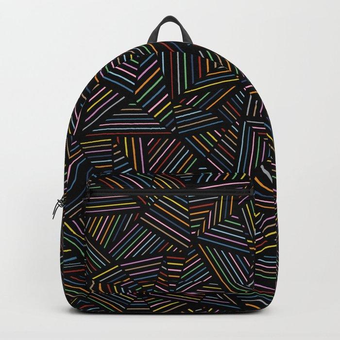 Ab Linear Rainbow Black Backpack