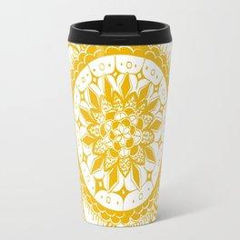 Orange Kaleidoscope Patterned Mandala Travel Mug