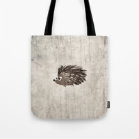 hedgehog Tote Bags featuring Hedgehog by Mr and Mrs Quirynen