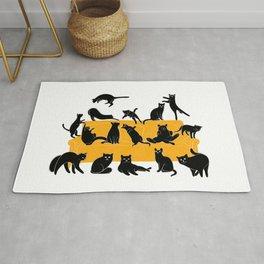 Black Cats on Sofa   Illustration   White Rug