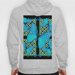 Ornate Black & Blue Azure Nouveau Butterfly Designs Hoody
