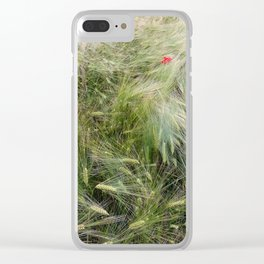 Red poppies in a wheat field. Clear iPhone Case