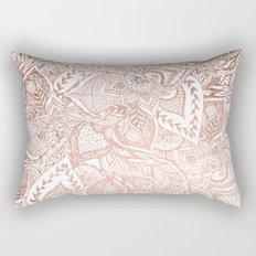 Chic hand drawn rose gold floral mandala pattern Rectangular Pillow