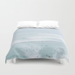 Tiny Surfers from the Sky, Lima, Peru Duvet Cover