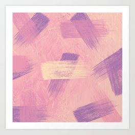 Abstract purple brushes hand painted illustration background Art Print