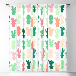 Pastel Green and Peach Cactus Print Blackout Curtain