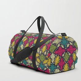 Pink, Green, Yellow, & Turquoise Ornate Abstract Pattern Duffle Bag