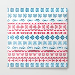 Hand painted blue red watercolor scandinavian geometrical pattern Metal Print