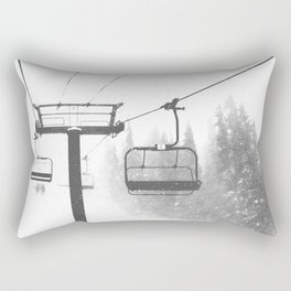 Chairlift Abyss // Black and White Chair Lift Ride to the Top Colorado Mountain Artwork Rectangular Pillow