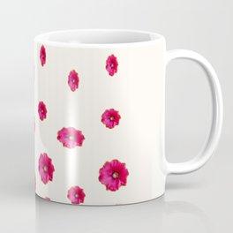 WHITE DOUBLE CERISE HOLLYHOCK FLOWERS GARDEN Coffee Mug