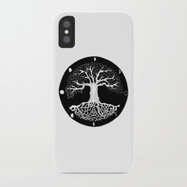 black and white tree of life with moon phases and celtic trinity knot iPhone Case