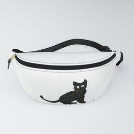 autumn black cat sketch Fanny Pack