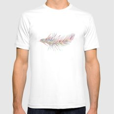 Rainbow Feather  White MEDIUM Mens Fitted Tee