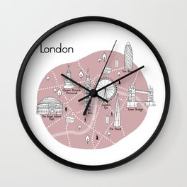 Mapping London - Pink Wall Clock