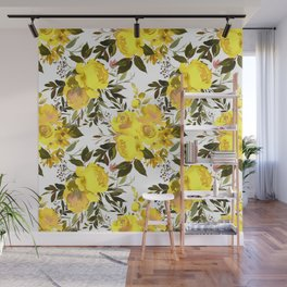 Yellow brown green watercolor hand painted roses Wall Mural
