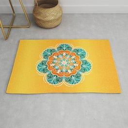 Blue, Orange & Yellow Flower Mandala Rug