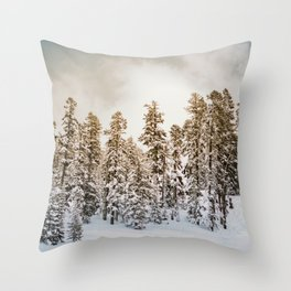 Snowy Forest | Winter Snow Tree Forest Nature Photography Throw Pillow