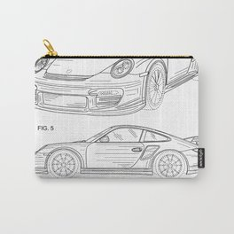911 Sports Car Patent - 911 Carrera Art - Black And White Carry-All Pouch