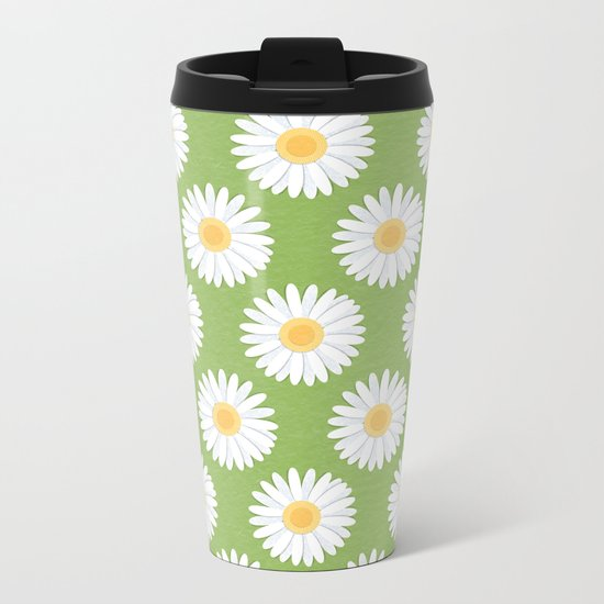 Spring Daisies_Greenery Metal Travel Mug