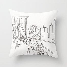 Sloppy Bridge Kiss - LINE DRAWING Throw Pillow