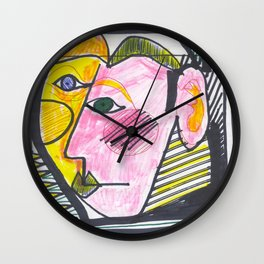 """Atrocious Face"" - a scan of artwork By Dorothy Messenger, copyrighted Wall Clock"