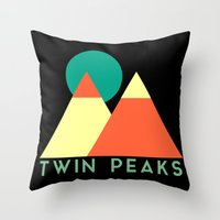 twin peaks Throw Pillows featuring Twin Peaks by Victor Velocity