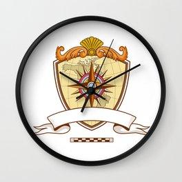 Compass Navigator Map Coat of Arms Crest Retro Wall Clock
