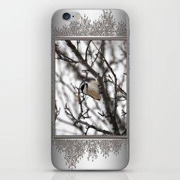 Winter Windblown Black-Capped Chickadee iPhone Skin