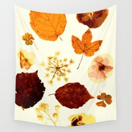 Pressed flowers and leaves Wall Tapestry