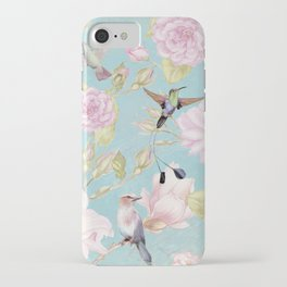 Pastel Teal Vintage Roses and Hummingbird Pattern iPhone Case