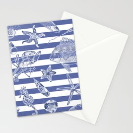Sea things, blue striped design Stationery Cards
