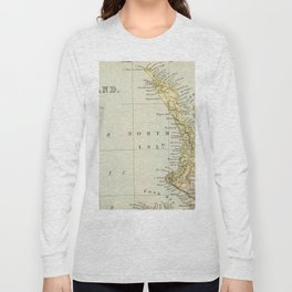 Vintage Map of New Zealand Long Sleeve T-shirt