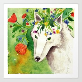 White wolf with flower crown Art Print