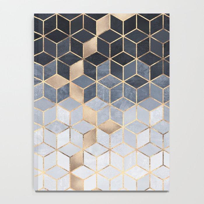 Soft Blue Gradient Cubes Notebook