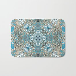 Turquoise Blue and Tan Pattern Bath Mat