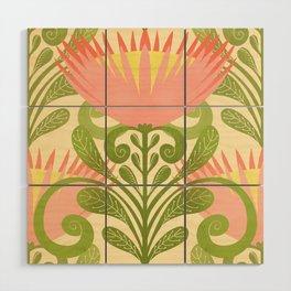 King Protea Flower Pattern - yellow Wood Wall Art