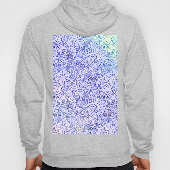1970's Style Waves And Clouds Drawing Hoody
