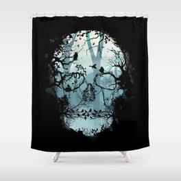 Dark Forest Skull Shower Curtain